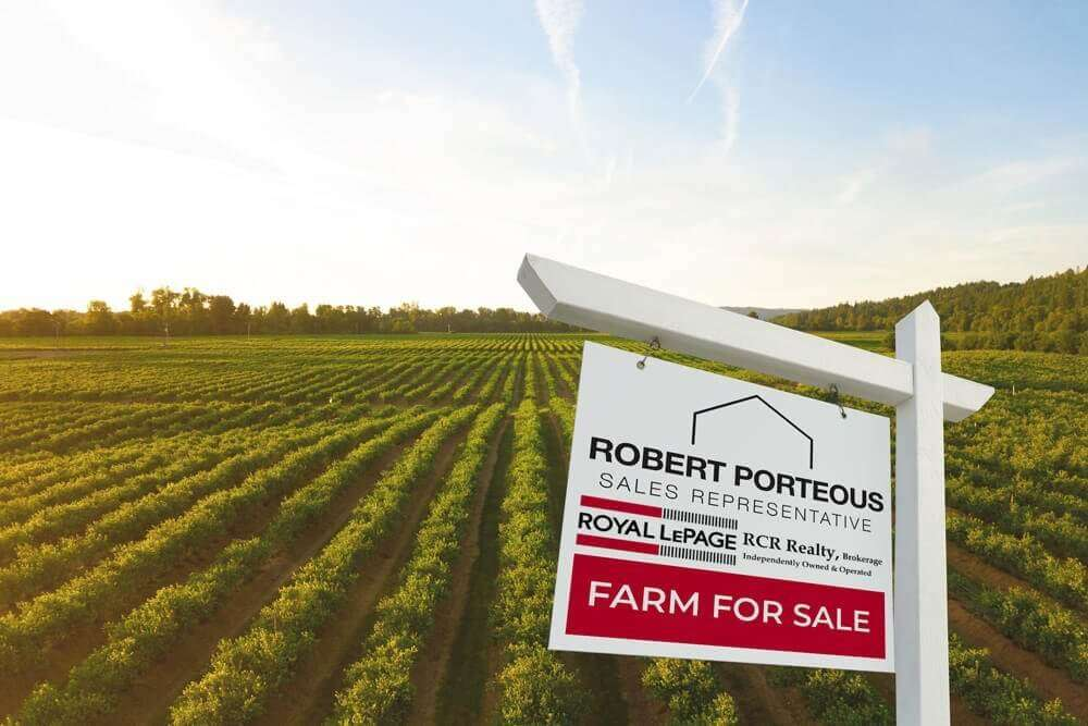 Land for sale sign in Meaford Ontario